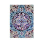5and039x7and039 Sari Silk And Textured Wool Colorful Maharaja Hand Knotted Rug R59174