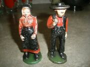 Vintage Cast Iron Man And Woman Amish Figures 4 Tall Each