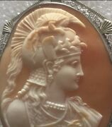 Large Victorian 1840 Carved Shell Cameo Athens Goddess Worrier 14k Gold 2.5andrdquo
