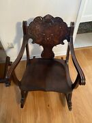 Antique Rocking Chair Furniture With Gold In The Head Rest