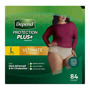 """Depend Protection Plus Ultimate Underwear For Women Large 84-count Waist 38""""-44"""