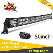 980w Curved 50 Dual Row Led Light Bar Combo Beam Super Bright Fit Boat Suv Roof