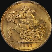 1931 Melbourne George V Small Head Sovereign Unc Pcgs Ms62