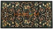 4and039x2and039 Black Marble Top Dining Table Precious Marquetry Inlay Hallway Decors B589