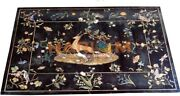 4and039x3and039 Marble Dining Table Top Precious Bird And Animal Inlay Restaurant Decor B600