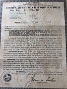 1947 Studebaker Certificate Of Title Coupe Truck Hotrod Collectible Rare