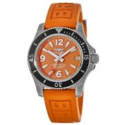 New Breitling Superocean Automatic 36 Orange Dial Womenand039s Watch A17316d71o1s1