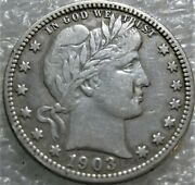 1903 O Barber Quarter Rare Affordable Circulated Coin Damaged Cleaned