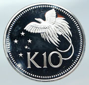 1976 Papua New Guinea Large Exotic Bird Vintage Proof Silver 10 Kina Coin I85751