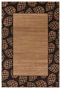 Pinecones Lodge Cabin Rustic Nature Carved Area Rug Free Shipping