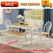 Autumn Lane Farmhouse Solid Wood Dining Bench White And Natural Finish Furniture