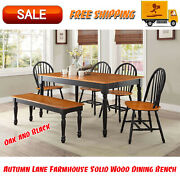 Autumn Lane Farmhouse Solid Wood Dining Bench Black And Natural Finish Furniture