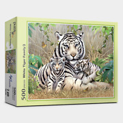 Jigsaw Puzzles 500 Pieces Art Painting White Tiger Family Mother And 2 Babies