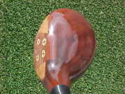 Persimmon Pedersen Refinished Golf Club Rare 4 Wood W Brass Sole And Leather Grip