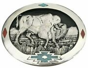 Vtg Buffalo Belt Buckle Turquoise Inlay Stone Bison Native American Charging 70s