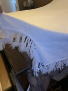Vintage White Floral Matelasse Bedspread Coverlet Hand Tied Fringe 71andrdquol X 74andrdquow