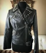 Genuine Leather Studded Motorcycle Jacket With Back Zips And Side Buckle, M
