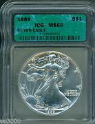 1989 American Silver Eagle Ase S1 Icg Ms69 Ms-69 Beautiful Premium Quality Pq++