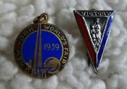 Wwii Era Victory Pin Sterling Mary And Jesus / 1939 Worlds Fair Charm, Official