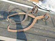 2 Antique Primitive Hand Forged Iron Ice Block/ Log Tongs 15 And 20 Tall Pair