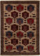 3351 Amazing Hand-knotted Beige Brown Tribal Afghan 100 Wool Rug 276 X 200 Cm