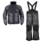 Boys Youth Mossi Snowmobile Jacket And Bibs Combo - Black W/ Mosaic Design