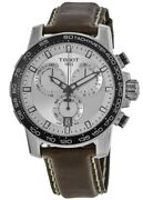New Tissot Supersport Chrono Silver Dial Brown Menand039s Watch T125.617.16.031.00