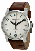 Timewalker Silver Dial Date Brown Leather Automatic Mens Watch 110338
