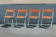 Set Of 4 Mid Century Modernist Weighty Designer Chrome W/ Leather Dining Chairs