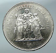1975 France Large Hercules Motto Vintage Old Silver 50 Francs French Coin I85889