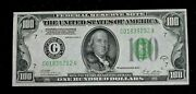 1928 A Series 100 Dollar Gold Demand Light Green Seal Unc Small Size Note K075