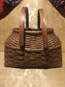1890andrsquos Antique Gathering Basket Ornate Wooden Handles Amazing Intricate Weave