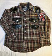 Kids Sons Of Anarchy Aprx 2012 Licd Sz 5 Flannel Faux Leather Shirt Original Mbr