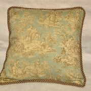 French Country Cottage Pillow Cushion Toile Pale Blue Gold Farmhouse