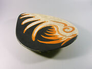 Gorka Livia, Black Retro Plate With Rooster Bird 10, 1950's Art Pottery G233