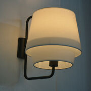 Contemporary Wall Sconce 2 Shades Fabric Wall Mount Lighting With Braided Trim