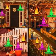 Halloween Decorations Outdoor 8pcs Hanging Lighted Glowing Witch Hat 36ft Light