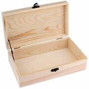 Unfinished Wood Box, Dedoot Jewelry With Locking Clasp Rectangle Organizer For