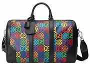 Black Psychedelic Carry-on Duffle Bag 601294 Coated Canvas Gg Logo Travel
