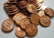 Roll Of 1974 Canada Small Cents Unc Red 50 1 Penny Canadian Coins Rj07