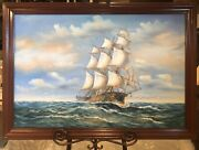 Beautiful Large Framed Clipper Ship Original Oil Painting Signed By Rogers