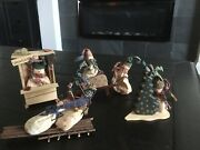 New Set Of 4 Primitive/country Christmas Winter Grungy Snowman Figures D