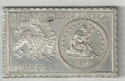 1866 U.s. Seated Liberty Quarter 25 Cents Numistamp Medal Coin Mort Reed 1975