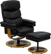 Contemporary Multi-position Recliner And Ottoman With Wood Base In Black Leat...