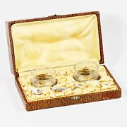 Antique French Open Salt Cellars Box Silver Plated Holders Spoons H/blown Glass