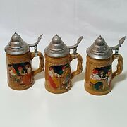 Set Of 3 Lidded Beer Steins, Pint Size,german Style, Ceramic, Labeled A-b-c
