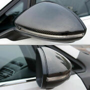 Pair Carbon Fiber Black Replacement Side Mirror Cover Caps For Vw Golf Gti Mk7 R
