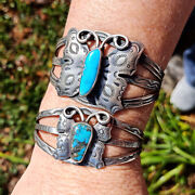 Native American Navajo Sterling Silver Turquoise Butterfly Cuff Bracelets