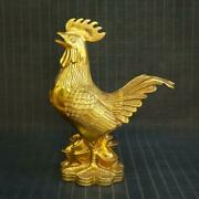 Chinese Exquisite Copper Handmade Chickens Statue 63904