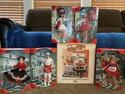 Barbie Coca-cola Soda Fountain Set. Includes 4 Barbies And 1 Ken Doll.